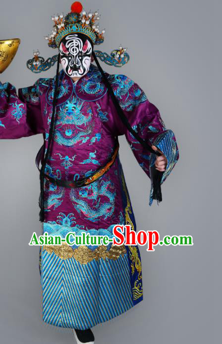 Chinese Beijing Opera Prime Minister Costume Purple Embroidered Robe, China Peking Opera Embroidery Dragon Gwanbok Clothing