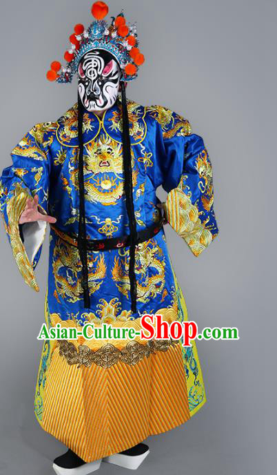 Chinese Beijing Opera Prime Minister Costume Blue Embroidered Robe, China Peking Opera Embroidery Dragon Gwanbok Clothing