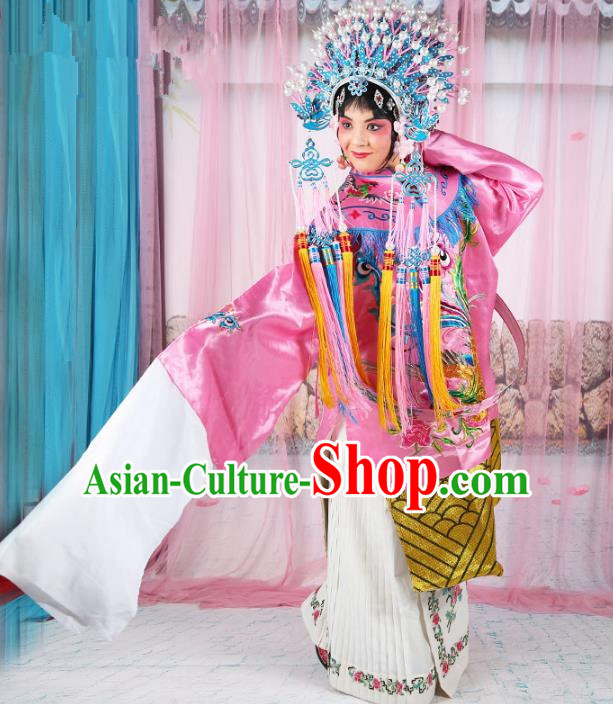Chinese Beijing Opera Actress Imperial Empress Costume Pink Embroidered Robe, China Peking Opera Diva Queen Clothing