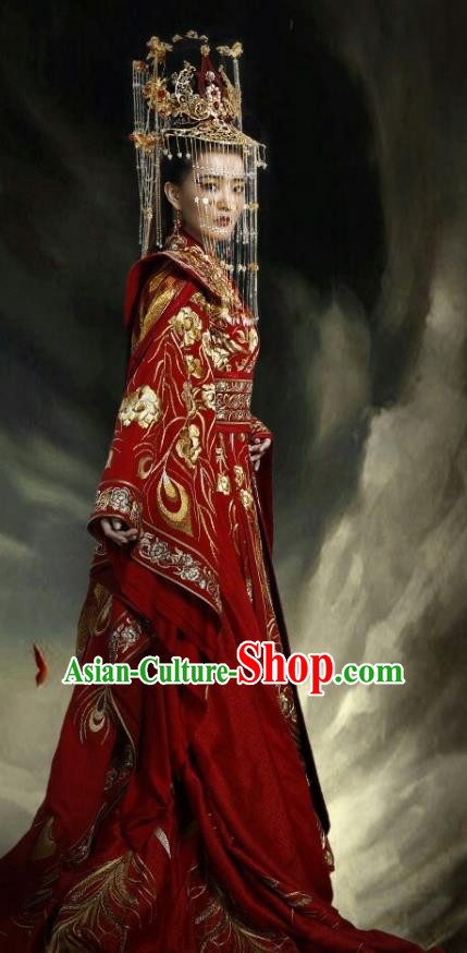 Traditional Ancient Chinese Tang Dynasty Palace Lady Princess Wedding Embroidered Tailing Costume and Headpiece Complete Set for Women