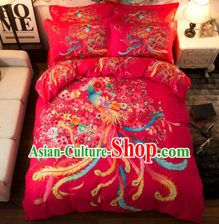 Traditional Chinese Style Wedding Bedding Set, China National Marriage Printing Phoenix Red Textile Bedding Sheet Quilt Cover Complete Set