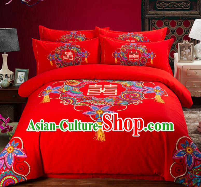 Traditional Chinese Style Wedding Bedding Set, China National Marriage Printing Xi Character Flowers Red Textile Bedding Sheet Quilt Cover Complete Set