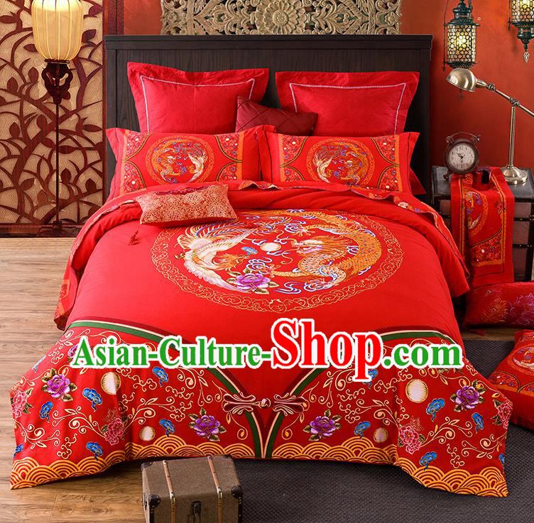 Traditional Chinese Style Wedding Bedding Set, China National Marriage Printing Dragon and Phoenix Flowers Red Textile Bedding Sheet Quilt Cover Complete Set