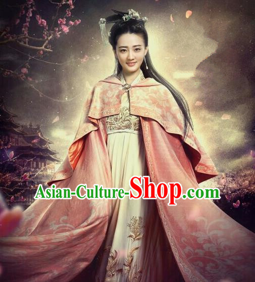 Traditional Ancient Chinese Tang Dynasty Palace Princess Embroidered Costume and Headpiece Complete Set for Women
