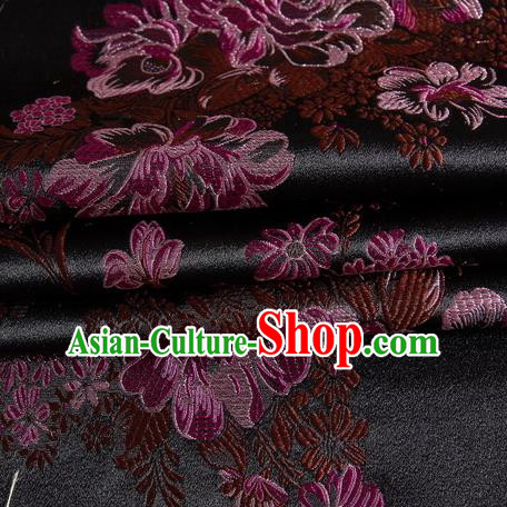 Chinese Royal Palace Traditional Costume Peony Pattern Black Satin Brocade Fabric, Chinese Ancient Clothing Drapery Hanfu Cheongsam Material