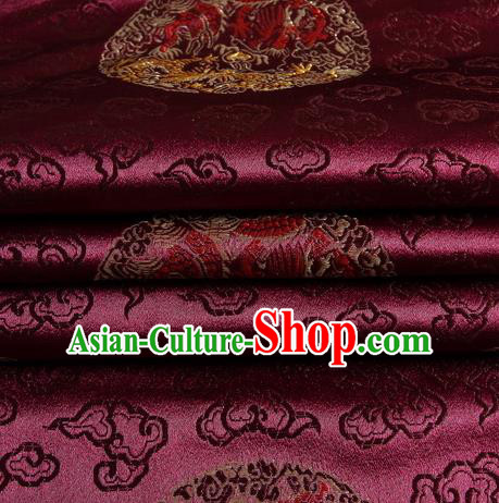 Chinese Royal Palace Traditional Costume Dragon Pattern Amaranth Satin Brocade Fabric, Chinese Ancient Clothing Drapery Hanfu Cheongsam Material