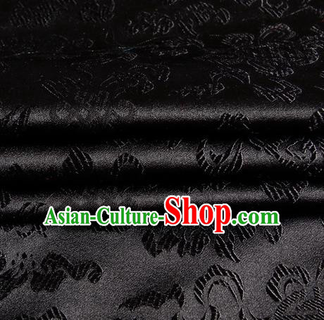 Chinese Royal Palace Traditional Costume Chinese Knots Pattern Black Satin Brocade Fabric, Chinese Ancient Clothing Drapery Hanfu Cheongsam Material