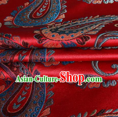 Chinese Royal Palace Traditional Costume Paisley Pattern Red Satin Brocade Fabric, Chinese Ancient Clothing Drapery Hanfu Cheongsam Material