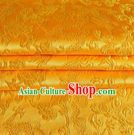 Chinese Royal Palace Traditional Costume Dragon Pattern Golden Satin Brocade Fabric, Chinese Ancient Clothing Drapery Hanfu Cheongsam Material