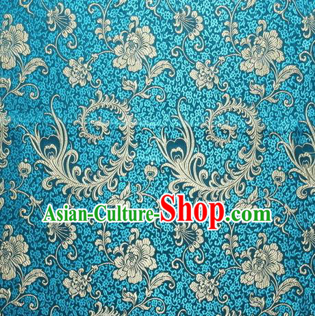 Chinese Royal Palace Traditional Costume Pteris Pattern Blue Satin Brocade Fabric, Chinese Ancient Clothing Drapery Hanfu Cheongsam Material
