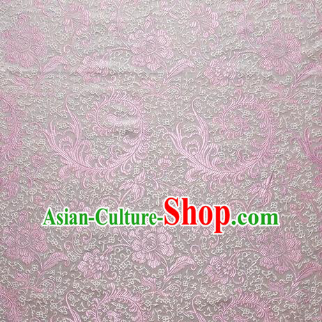 Chinese Royal Palace Traditional Costume Pink Pteris Pattern White Satin Brocade Fabric, Chinese Ancient Clothing Drapery Hanfu Cheongsam Material