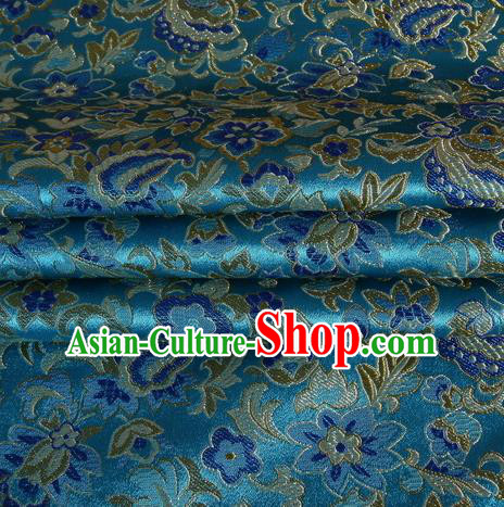 Chinese Traditional Costume Royal Palace Pattern Blue Satin Brocade Fabric, Chinese Ancient Clothing Drapery Hanfu Cheongsam Material