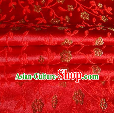 Chinese Royal Palace Traditional Costume Flowers Pattern Red Satin Brocade Fabric, Chinese Ancient Clothing Drapery Hanfu Cheongsam Material