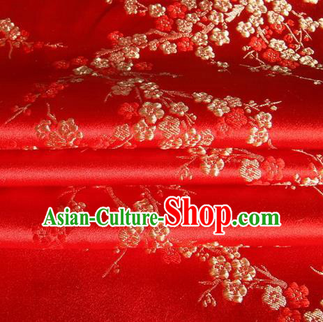 Chinese Royal Palace Traditional Costume Plum Blossom Pattern Red Satin Brocade Fabric, Chinese Ancient Clothing Drapery Hanfu Cheongsam Material