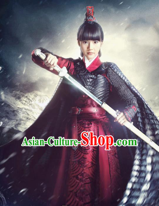 Traditional Chinese Tang Dynasty Swordswoman Female General Costume for Women