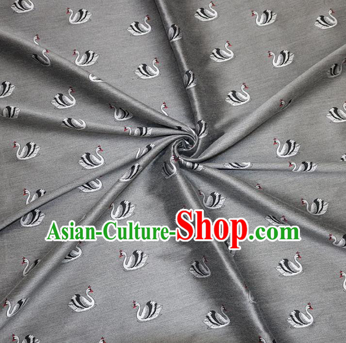 Chinese Traditional Costume Royal Palace Printing Swan Grey Brocade Fabric, Chinese Ancient Clothing Drapery Hanfu Cheongsam Material