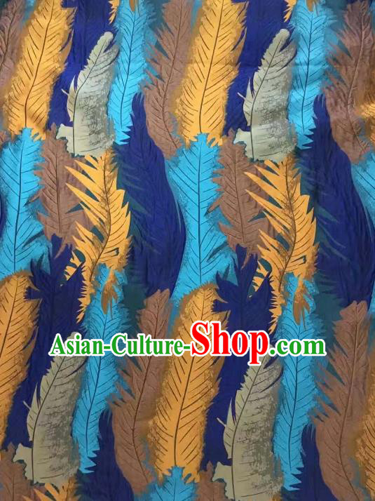 Chinese Traditional Costume Royal Palace Printing Feather Pattern Brocade Fabric, Chinese Ancient Clothing Drapery Hanfu Cheongsam Material