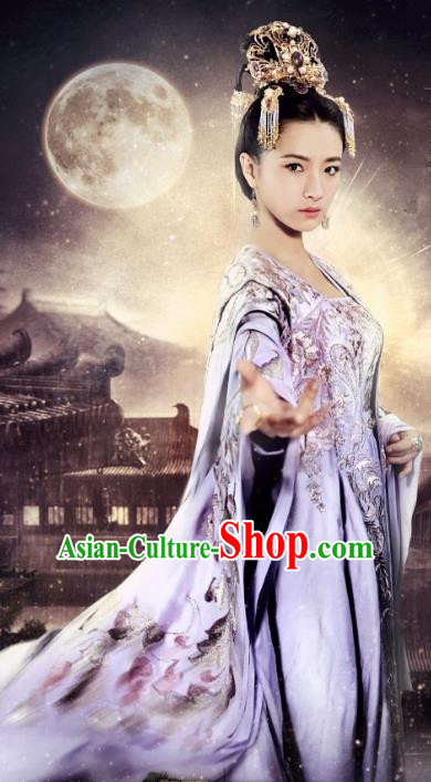 Traditional Chinese Tang Dynasty Imperial Concubine Embroidered Clothing Palace Lady Costume and Headpiece Complete Set for Women