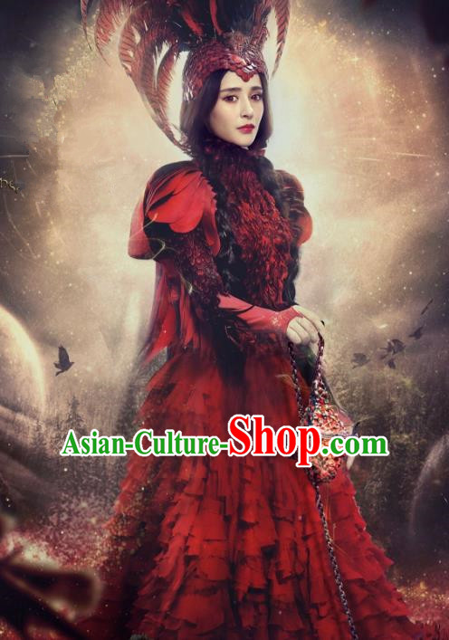 Traditional Chinese Ancient Minority Nationality Feather Costume and Headpiece Complete Set for Women