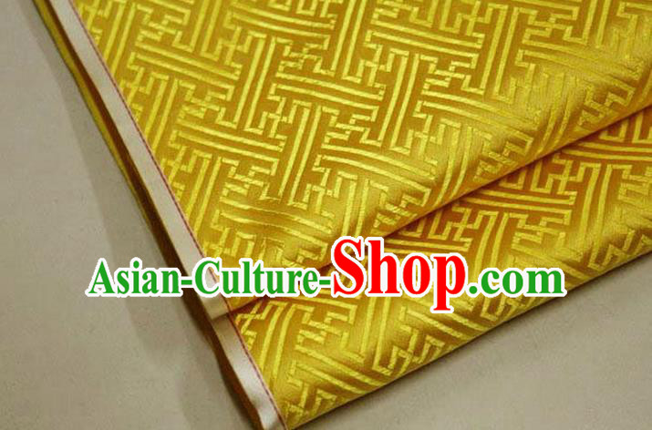 Chinese Traditional Costume Royal Palace Pattern Mongolian Robe Golden Brocade Fabric, Chinese Ancient Clothing Drapery Hanfu Cheongsam Material