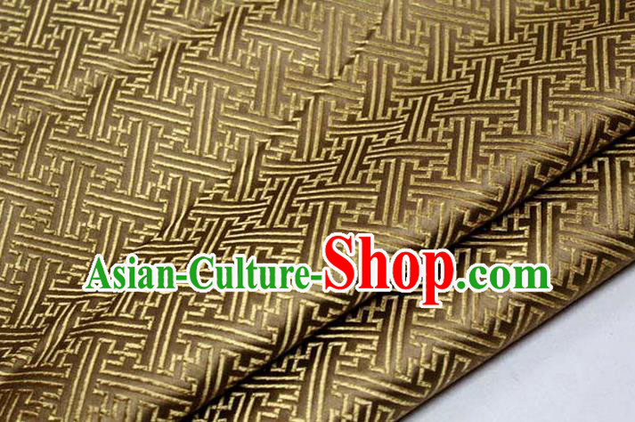 Chinese Traditional Costume Royal Palace Pattern Mongolian Robe Bronze Brocade Fabric, Chinese Ancient Clothing Drapery Hanfu Cheongsam Material