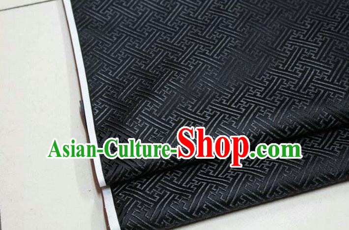 Chinese Traditional Costume Royal Palace Pattern Mongolian Robe Black Brocade Fabric, Chinese Ancient Clothing Drapery Hanfu Cheongsam Material