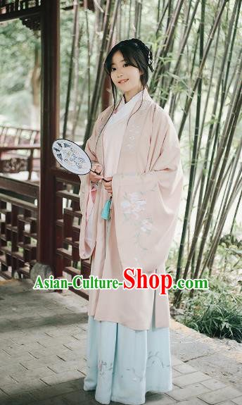 Traditional Chinese Ancient Ming Dynasty Palace Lady Wide Sleeve Cape Hanfu Costume Embroidered Cloak for Women