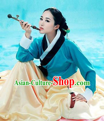 Traditional Koreans Nationality Dancing Costume, Koreans Folk Dance Ethnic Pleated Skirt, Chinese Koreans Minority Nationality Embroidery Costume for Women