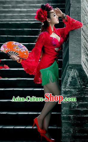 Traditional Ancient Chinese Dancing Costume, Chinese Folk Dance Lace Dress, Chinese Imperial Emperess Embroidery Costume for Women