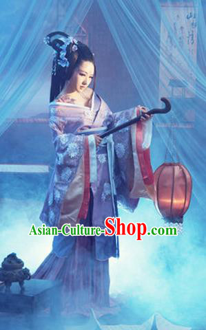Traditional Ancient Chinese Costume, Costumes Elegant Hanfu Clothing Chinese Han Dynasty Imperial Emperess Lace Tailing Embroidered Clothing for Women