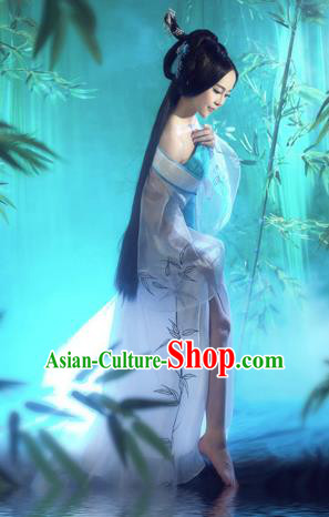 Traditional Ancient Chinese Costume, Costumes Elegant Hanfu Clothing Chinese Tang Dynasty Imperial Emperess Lace Tailing Embroidered Bamboo Leaf Clothing for Women