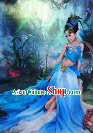 Traditional Ancient Chinese Imperial Princess Children Costume, Chinese Han Dynasty Little Fairy Peacock Dance Elegant Dress, Cosplay Chinese Princess Hanfu Clothing for Kids