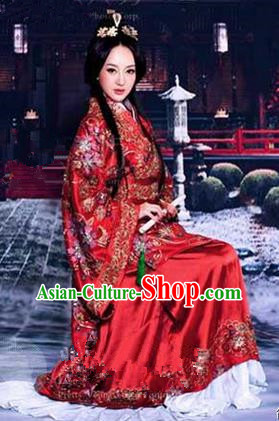 Traditional Ancient Chinese Imperial Emperess Wedding Costume, Elegant Hanfu Clothing Chinese Han Dynasty Imperial Emperess Tailing Embroidered Clothing for Women