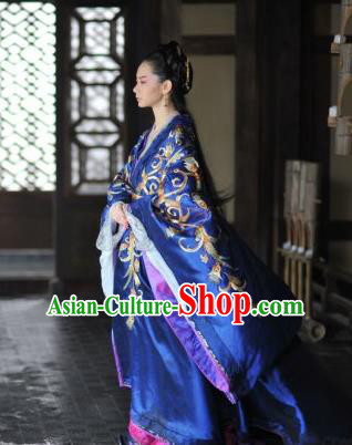 Traditional Ancient Chinese Costume, Elegant Hanfu Clothing, Chinese Han Dynasty Imperial Emperess Tailing Royalblue Embroidered Clothing for Women