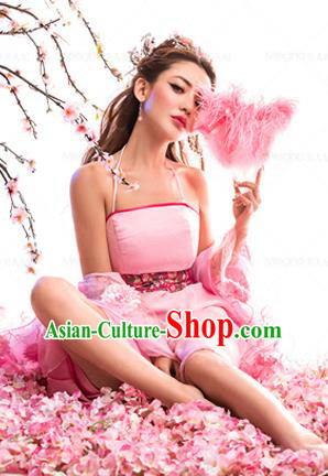 Traditional Ancient Chinese Imperial Consort Sexy Costume, Elegant Hanfu Tube Pink Dress Chinese Han Dynasty Imperial Emperess Tailing Clothing for Women