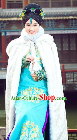 Traditional Ancient Chinese Manchu Costume, Chinese Qing Dynasty Manchu Palace Lady Dress, Cosplay Chinese Mandchous Imperial Princess Embroidered Clothing for Women