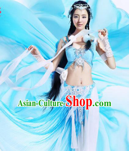 Ancient Chinese Swordsman Elegant Blue Costumes for Women