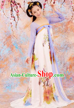 Traditional Ancient Chinese Palace Lady Costume, Elegant Hanfu Clothing Chinese Tang Dynasty Imperial Emperess Dance Clothing for Women