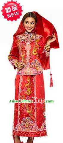 Traditional Ancient Chinese Costume Xiuhe Suits Chinese Style Wedding Dress Red Restoring Ancient Women Longfeng Dragon And Phoenix Flown Bride Toast Cheongsam