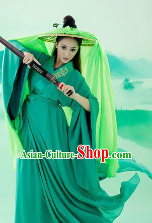 Ancient Chinese Swordsman Green Embroidered Costumes Han Dynasty Clothing for Women