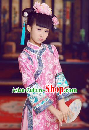 Traditional Ancient Chinese Imperial Princess Children Costume, Chinese Qing Dynasty Manchu Little Girl Dress, Cosplay Chinese Concubine Embroidered Clothing for Kids