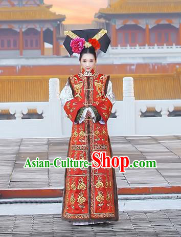 Traditional Ancient Chinese Imperial Consort Costume, Chinese Qing Dynasty Manchu Lady Dress, Chinese Mandarin Phoenix Robes Imperial Concubine Embroidered Clothing for Women