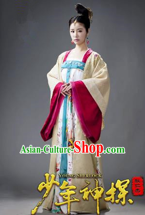 Traditional Ancient Chinese Imperial Consort Costume, Elegant Wu ZetianHanfu Clothing Chinese Tang Dynasty Imperial Emperess Embroidered Clothing for Women