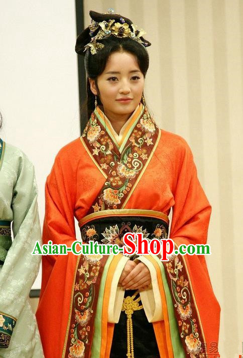 Traditional Ancient Chinese Imperial Consort Costume, Elegant Hanfu Clothing Chinese Han Dynasty Imperial Emperess Tailing Embroidered Clothing for Women