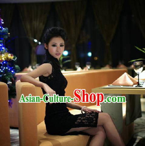 Traditional Ancient Chinese Young Women Cheongsam Dress, Republic of China Tangsuit Stand Collar Lace Cheongsam for Women