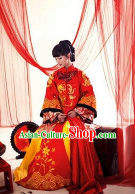 Ancient Chinese Costume Xiuhe Suits Traditional Wedding Dress Red Dragon and Phoenix Flown Cheongsam for Women
