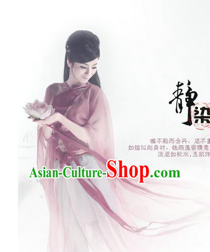 Traditional Ancient Chinese Water Sleeves Dance Costume, Elegant Chinese Han Dynasty Imperial Consort Clothing for Women