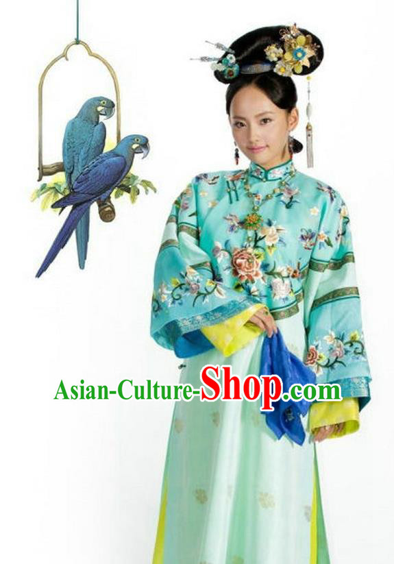 Traditional Ancient Chinese Imperial Consort Costume, Chinese Qing Dynasty Manchu Lady Dress, Chinese Mandarin Robes Imperial Concubine Full Embroidered Clothing for Women