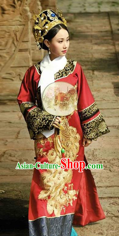 Traditional Ancient Chinese Imperial Consort Costume, Chinese Qing Dynasty Manchu Lady Dress, Chinese Mandarin Robes Imperial Concubine Phoenix Clothing for Women