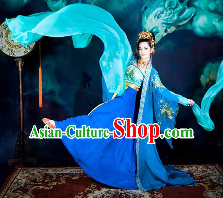 Traditional Ancient Chinese Dance Costume, Elegant Hanfu Clothing Chinese Ming Dynasty Imperial Emperess Embroidered Dance Clothing for Women